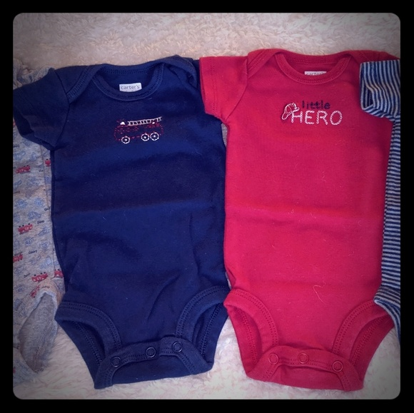 Carter's Other - Set of 4 New Born Baby Onesies, Firefighter baby
